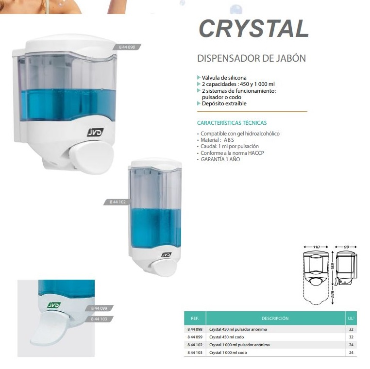 dispensador jabon crystal
