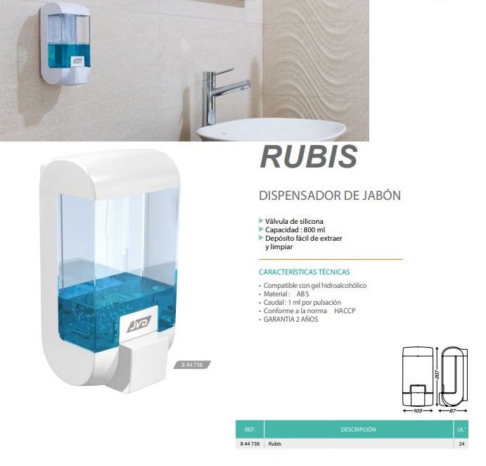 dispensador jabon rubis